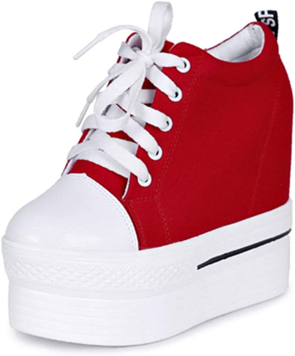 Canvas shoes Women Casual Elevator Platform shoes Female High Top Hidden Wedge Heels Ankle Boots