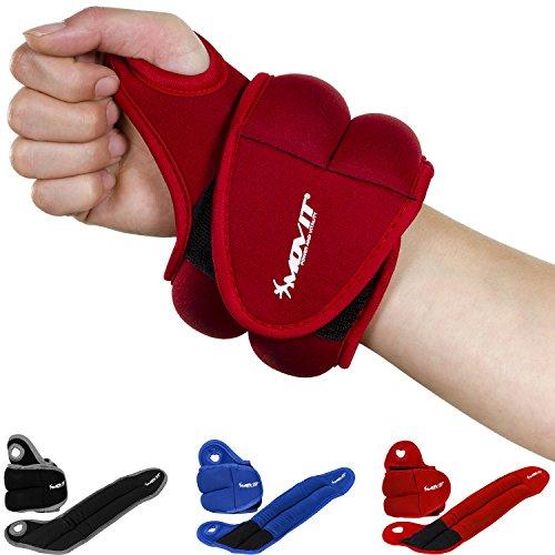 Movit 2er Set Neopren Gewichtsmanschetten mit Daumenschlaufen, 2X 1,5kg, rot