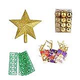 H-O - Juego de adornos para el árbol de Navidad, 24 bolas de Navidad, 5 ganchos de plástico en forma de S, 20 tarjetas de felicitación, 1 estrella de cinco puntas
