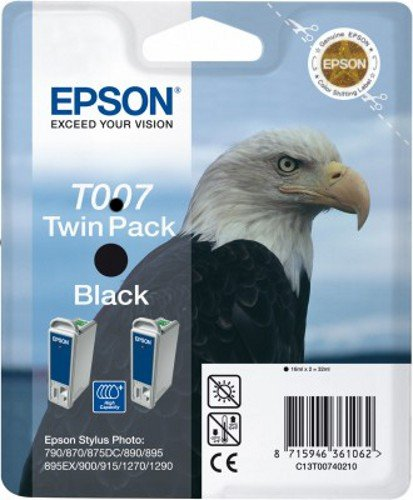 Epson C13T00740210 - Pack de 2 cartuchos de tinta, negro válido para EPSON Stylus Photo 1290 / 1290S / 1270/915 / 900/890 / 895/870