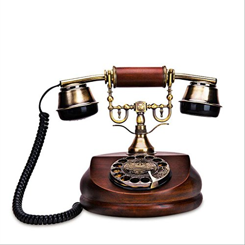 YSNUK Teléfono de Madera sólido rotatorio antigüedades de la casa de la Oficina Teléfono Fijo Creativo de la Manera Americana Teléfono rotatorio