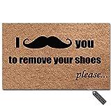 "MsMr Entrance Floor Mat Funny Door Mat I Mustache You to Remove Your Shoes Please Doormat Outdoor Indoor Mat Non-Woven Fabric Top Rubber Back 18""x30"""
