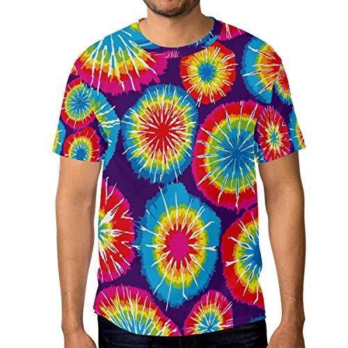 FANTAZIO Heren T-Shirt Geweldig Tie Dye Circle Korte Mouw Crew Neck