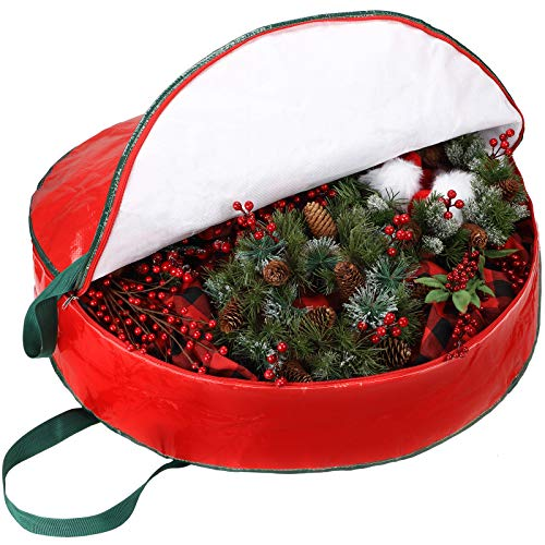 Wreath Storage Bag Wreath Storage Container, 30 x 7 Inch Zippered Bag with 2 Pieces Stainless Steel S Hooks for Valentine Christmas Holiday Artificial Wreaths