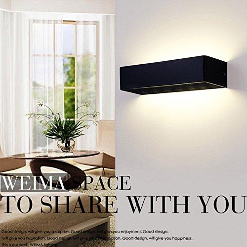 5151BuyWorld Moderne minimalistische led-wandlamp, verlichting met aluminium behuizing, woonkamer, aisle, badkamer, slaapkamer, spiegel, 90-260 V, zilver/zwart