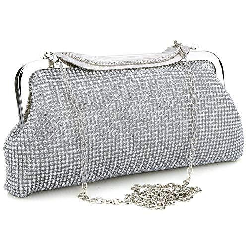 Damen Clutch/Handtasche mit Glitzersteinen, für Abendveranstaltungen/Abschlussball/Party Gr. One size, silber