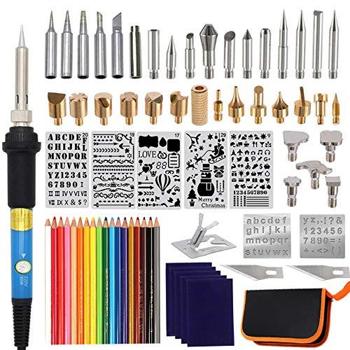 Brandmalerei-Set, 71-teilig, verstellbare Temperatur, Holzgravur, Handwerk, Lötkolben für Holzverbrennung, Schnitzen, Prägung, Löten