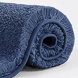VANZAVANZU Alfombra de Baño Antideslizante Alfombrilla de Baño Espesa Absorbente Alfombra de Ducha Ultra Suave Alfombrillas para Baño Mullido Microfibra, Lavable a Máquina - 40 x 60cm (Azul Marino)
