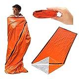 Vicky Wheeler Camping Emergency Sleeping Bag Reusable Thermal Moisture-Proof Hiking Blanket Outdoor Survival Gear Bivy Sacks (PE Bag Package)