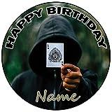 AK Giftshop Tarjetas personalizables para tarta de cumpleaños, decoración redonda de 20 cm, cualquier edad y nombre