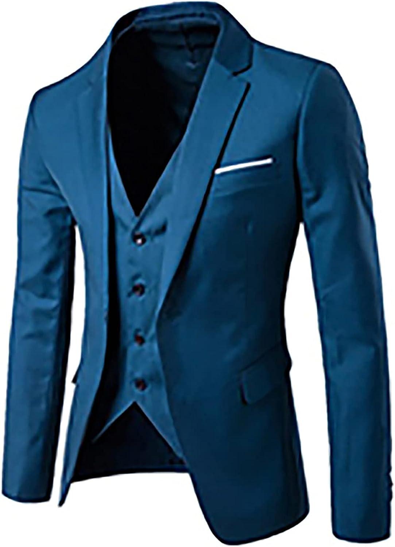 Men's Suit 2-Piece Blazer Dress Business Tuxedo Slim Fit One Button Coat Jacket & Pants Set for Wedding Party