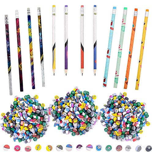 Totem World Poke Ball Theme Pencils and Mini Erasers - 12 Pack of Colorful Number 2 Pencils and 300 Mini Erasers for Kids Prizes