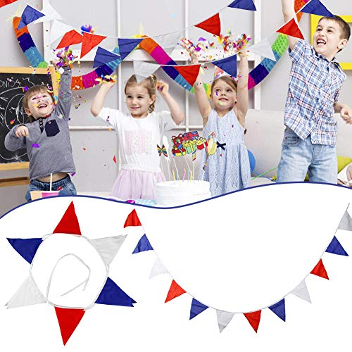 Msleep VE Day Bunting Red White Blue Triangular 7 m 25 Flags Decoration 8TH May 75th