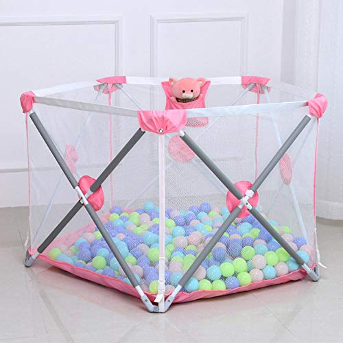 11 sq ft Pink Pop Up Playpen with Breathable Mesh,5 Panel Garden Activities for Babies Toddler Newborn Infant Indoor And Outdoor Playard for Babies Toddler, Indoor And Outdoor Play