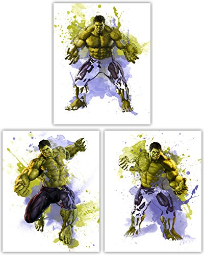 Hulk Wall Decor Collection – Coleccion de poster de pelicula de The Incredible Avenger in This Awesome Wall Art - Juego de 3 fotos de 8 x 10