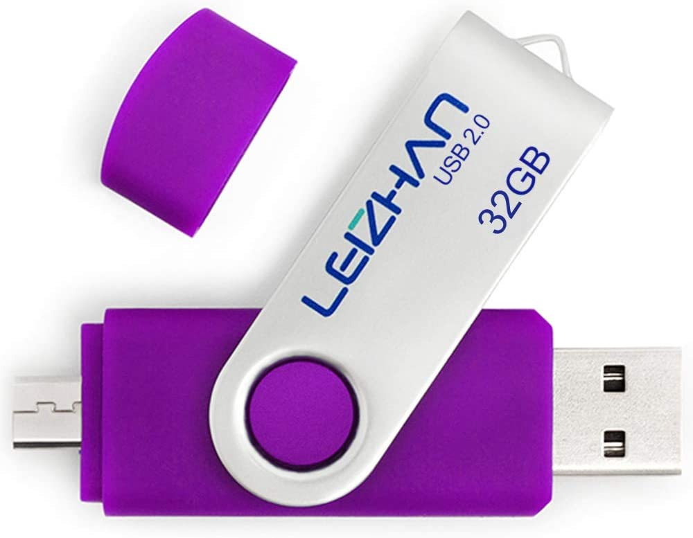 leizhan Flash Drive 32GB Micro Thumb Drive for Android Phone Samsung Galaxy S7,S6,S5,S4,S3.J7,Note5,Note4,Note3,Tablet Computer,Purple