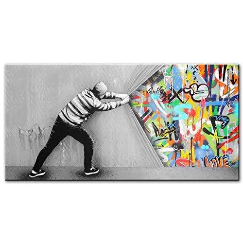 banksy Graffiti Kunst Hinter Dem Vorhang Street Art Leinwand Gemälde Wanddruck Auf Leinwand Poster Abstract Bilder Für Wohnzimmer