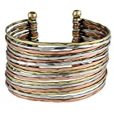 ZAD Hammered Bunch Mixed Metal Cuff Bracelet - One Size Fits Most