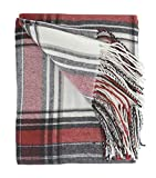 Fennco Styles Classic Plaid Pattern Tassel Trim Throw Blanket 50 x 60 Inch - Red White Throw for Couch, Home Decor and Holiday Winter Season