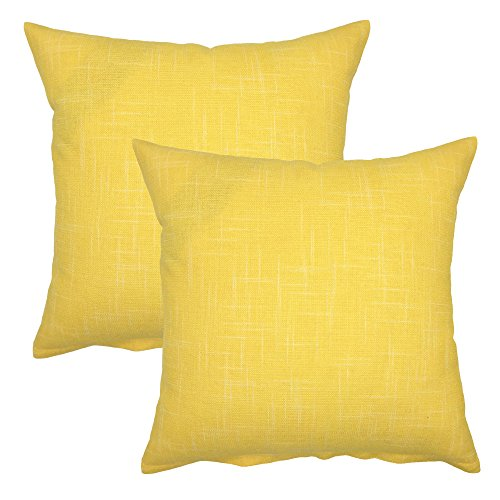 YOUR SMILE Solid Color Decorative Cotton Linen Throw Pillow Case Cushion Cover Pillowcase for Couch Sofa Bed,18 x 18 Inches (Yellow,Set of 2)