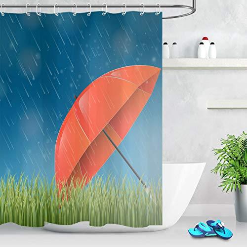 NNAYD1996 Hierba Verde Lloviendo Paraguas Rojo Impresión Digital a Prueba de Agua y Moho