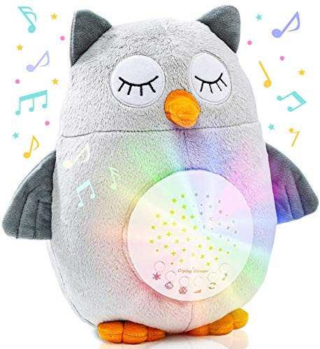 Crib Soother Plush Night Light Cry Detector - W/ 10 Lullabies & White Noise - Baby Sound Machine - Owl Cry Sensor Soother - Baby Necessities & Baby Registry Items