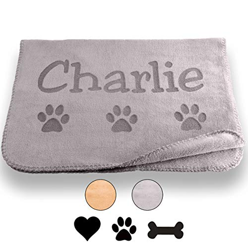 Custom Catch Personalized Dog Blanket - Gray or Beige - Small