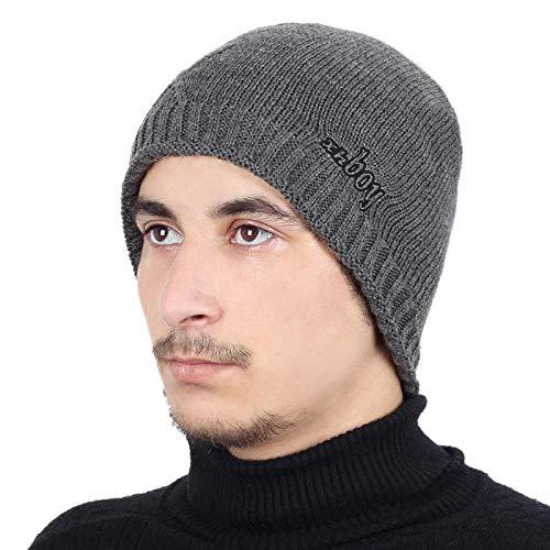 Bonnet Unisexe Chapeau tricoté Homme Beanie Hats, Pièceschaudes Chapeaux d'hiver Chapeaux GS pour Femmes Hommes Épais Coton Hiver Accessoires Femmes Beanie Homme Écharpe @ Gris