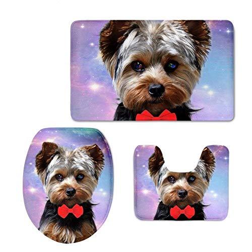 YSDDM badmat Highland Terrier toiletbadmattenset badkamertapijtdeurmatten wasbaar toiletdeksel, antislipdeksel, vloerkleed, wc-stoelhoezen voor binnen en buiten