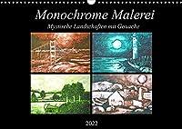 Monochrome Malerei - Mystische Landschaften mit Gouache (Wandkalender 2022 DIN A3 quer): Monochrom gemalte Ruhe Landschaften am Wasser. (Monatskalender, 14 Seiten )