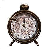 s.w.h quarzo metallo fiori design orologio da tavolo silenzioso per camera da letto soggiorno casa decorazione - nero