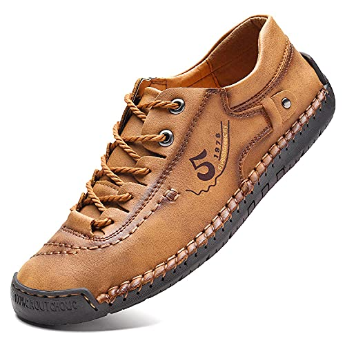 FiveStoresCity Mens Casual Shoes Summer Breathable Leather Walking Shoes Sneakers Loafers Handmade Lace-Up Dress Flats for Driving Traveling Business Working Office, Indoor Slippers (US 9.5, Brown)