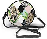 BAODANLA Bolso redondo mujer Tropical Palm Leaves and Leopard Background Women Soft Leather Round Shoulder Bag Zipper Circle Purses Sling Bag