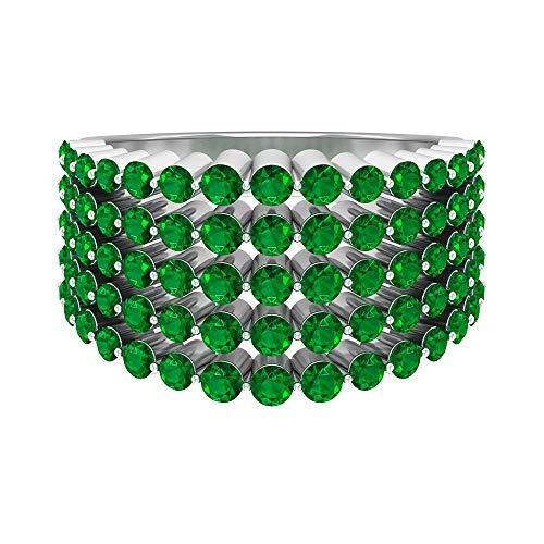 Anillo redondo de oro esmeralda de 2,40 quilates, anillo de boda con piedras preciosas de color verde clásico, anillo de aniversario único, 14K Oro blanco, esmeralda, Size:EU 55