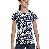 Hunter qiang T-Shirts de Filles 10-12, Aquarelle Floral Indigo Flowers Vêtements pour bébés Literie Pépinière Homewares_1032, XS