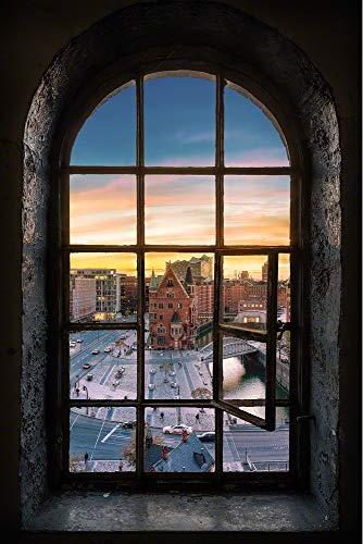 Acrylglasbild in feinster Galerie Qualität. Blick durchs Fenster auf die Hamburger Speicherstadt mit Elbphilharmonie. Glasbild aus AcrylglasKunst Wandbild | Wand Glas Bild | Fotografie