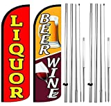 4Less Co Liquor, Beer Wine Windless Swooper Flag Pole w/Ground Spike Kits rqyrq42-h, 2 Pack