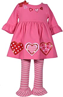 Bonnie Jean Baby Toddler and Little Girl's Valentine's Day Pink and Red Heart Tunic Shirt and Leggings Set