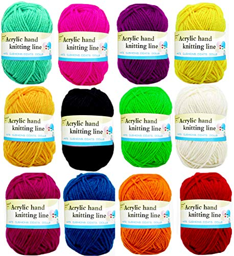 ZLIXING Yarn for Crocheting Knitting 12 Assorted Color Each 25g Crochet Yarn for Mini Project