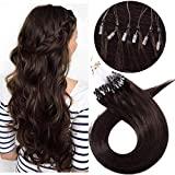 Extension Cheveux Naturel Sans Clip Loops Extensions a Froid Human Hair [0.5g * 100 Mèches] Rajout Cheveux Humains Micro Beads Ring 100% Remy Hair - 20'/50CM 02#Châtain Foncé