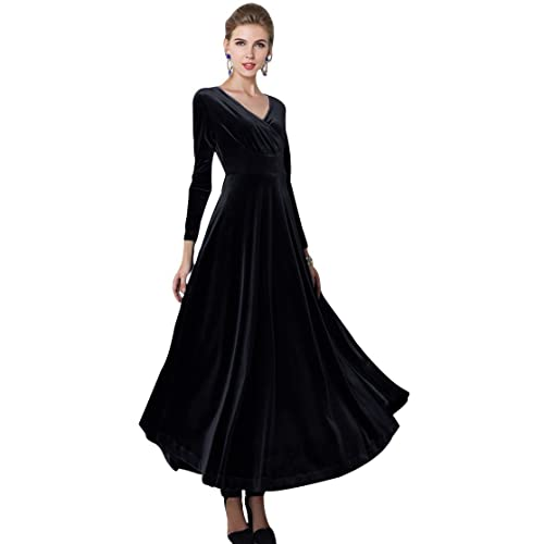 2387d4c36e9 Urban CoCo Women Long Sleeve V-Neck Velvet Stretchy Long Dress