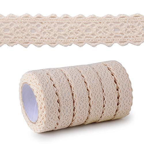 MEJOSER 6pcs Ruban de Dentelle Auto-adhésif Coton Tissu de 10.9m Vintage Floral Couture DIY Mariage Déco d'anniversaire Bricolage Artisanat (Beige)