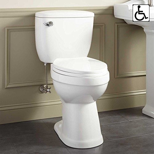 Signature Hardware 413995 Stalnaker 1.6 GPF Siphonic ADA Compliant Two-Piece Elongated Toilet - Seat...