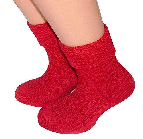 Shimasocks Kinder Socken mit Umschlag 100prozent Baumwolle, Farben alle:rot, Größe:23/26