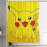 LIUYAN Duschvorhang mit Haken – Smile Pikachu Wasserdichter Polyester-Stoff Badezimmer-Dekoration 152,4 x 182,9 cm
