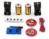 EISCO Labs Kit de circuito básico para principiantes para series de enseñanza y circuitos paralelos, interruptor (2) baterías 'D' con soportes, (2) soportes de luz, (5) bombillas, alambre a granel