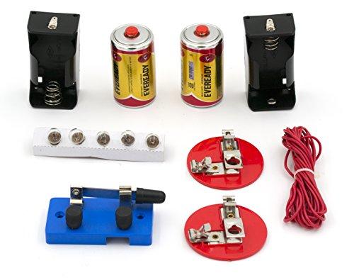 EISCO Labs Kit de circuito básico para principiantes para series de enseñanza y circuitos paralelos - interruptor, (2) baterías 'D' con soportes, (2) soportes de luz, (5) bombillas, alambre a granel