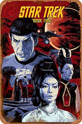 Cimily Star Trek illutratian Zinn Retro Zeichen Vintage Poster Plakette Wanddekoration für Bar Cafe Garten Schlafzimmer Büro Hotel 20X30 cm