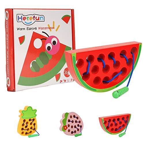 Herefun Holz Fädelspiel Lernspielzeug, Wassermelone Einfädeln Spielzeug Threading-Spiele, Reise Spiel frühes Lernen Feinmotorik Pädagogisches Geschenk Spielzeug für 1 2 3 Jahre alt Baby und Kleinkind