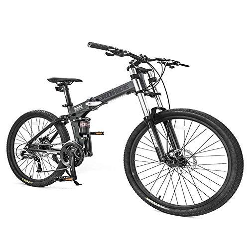 Bicicleta de montaña de 26 pulgadas, doble suspensión de 27 velocidades, marco de aluminio, para hombre y mujer ajustable, bicicleta alpina, verde, no plegable, color verde